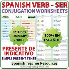 Spanish Ser Chart Ser Spanish Verb Conjugation Worksheets Present Tense
