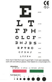 Eye Chart Snellen Pocket Eye Chart Eye Chart Chart