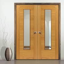 Emral Oak Veneered Fire Door Pair with Clear Glass is 30 Minute ...