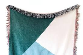 blue throw blanket duck egg australia color block woven green