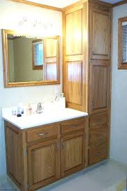 bathroom vanity and linen cabinet. Amazing Bathroom Linen Cabinets For Small Decoration Using Solid Light Oak Wood Vanity And Cabinet