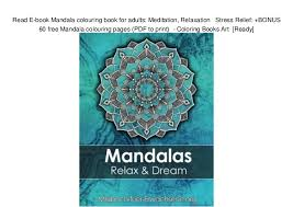 Read E Book Mandala Colouring Book For Adults Meditation Relaxation