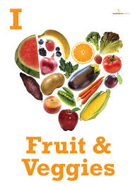 fruit food group clipart. Wonderful Group I Heart Fruits And Vegetables Poster  Nutrition Motivational  Inside Fruit Food Group Clipart