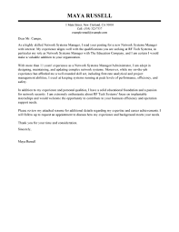 Best Network Systems Manager Cover Letter Examples Livecareer