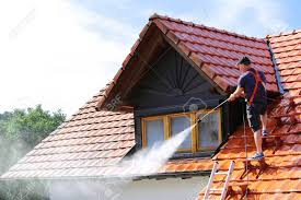 Roof Cleaning With High Pressure Cleaner Stock Photo, Picture And Royalty  Free Image. Image 152958330.