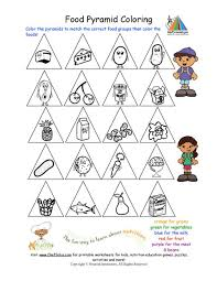 Small Picture Printable Color the Food Groups Worksheet