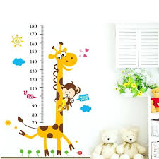 cute giraffe monkey growth chart kids wall decal ruler stickers height measure for rooms children k