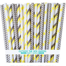 Outside the Box Papers Gray and Yellow Stripe and Chevron, Polka Dot Paper  Straws 7.75