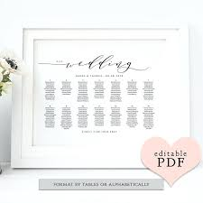 Wedding Table Seating Chart Printable Plan Template Free Download