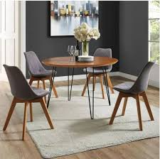Best modern home design and furniture ideas for hairpin leg coffee table round. 46 Round Hairpin Leg Dining Table In Walnut Walker Edison Tw46rdhpwt