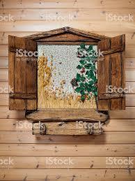 Dekorative Holzfenster Außenseite Des Ein Fensterflügel Holzfenster