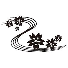 年中行事 桜の花びらと川モノクロ 無料イラストpowerpoint