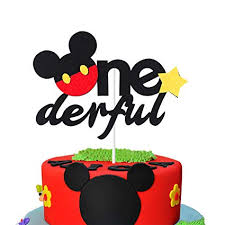 Amazoncom Mallmall6 Onederful Mickey Mouse Inspired Cake Topper