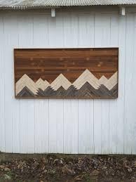 Reclaimed Wood Wall Art, Mountains, Bedroom Furniture, Large Wall Decor,  Headboard,
