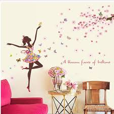 fairy cherry tree wall sticker erfly girl sticker creative romantic bedroom home living room tv background wall decor wall decal murals wall decal
