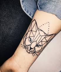 Tattoos Geometric Cat Tattoo Unique Geometric Cat Tattoo On