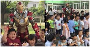 Devoted Father Visits Daughteru0027s School In Iron Man Suit; Stops All Classes    WORLD OF