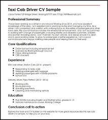 Driver Sample Cv Taxi Cab Driver Cv Sample Myperfectcv