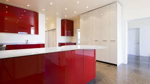 Red Kitchen Design Kitchen Cleanly Brown Ceramic Floor Paired With Red Kitchen Also