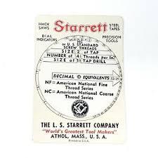 Details About Vintage 1943 L S Starrett Co Decimal Screw Thread Tap Tpi Wheel Chart Card Tool