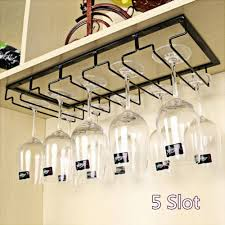 wine glass rack under cabinet hanging stemware hanger holder organiser 5 slot 1 of 5free see more