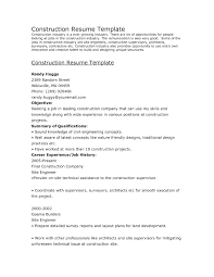 Construction Resume Objective Collection Of Solutions Construction