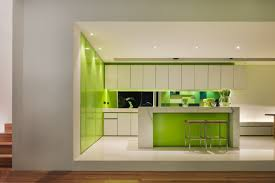 Lime Green Kitchen Walls Cool Lime Green Kitchen Design With Unique White Bar Stool And
