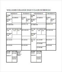 Sample College Class Schedule College Class Schedule Template 6 Free Pdf Documents Download