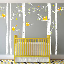 birch tree and owl forest wall decal for nursery or