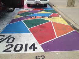 north crowley high their senior art students get to paint their parking spot it stays painted until it wears off