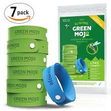 Green Mojo 100% Natural Mosquito Repellent Bracelet - Six (6) Pack + 1