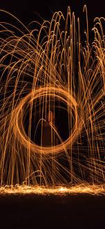 Fireworks, sparks, circle, night ...