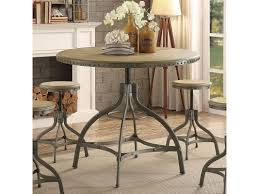 beacher industrial style metal adjule height round dining table