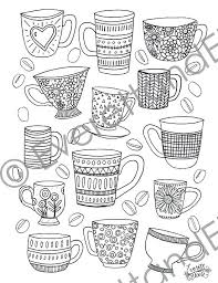 Coffee Cup Coloring Page Digital Download Mugs And Beans Coloring