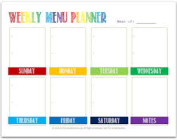 weekly menue planner weekly menu planner etsy