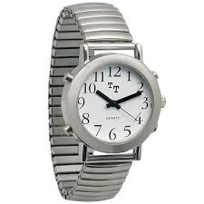 tel time men s talking watch mens chrome talking watch