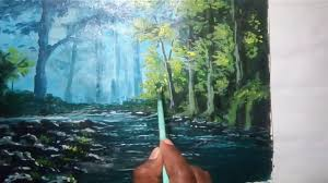 oil painting lesson for beginners a beautiful early morning art trees landscape painting