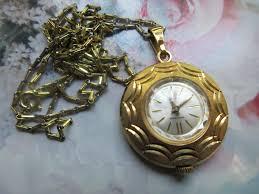 vintage bucherer pendant watch necklace