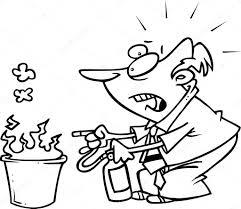 Hombre De Dibujos Animados Con Un Extintor Precipit Ndose Hacia
