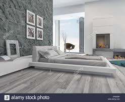 Moderne Schlafzimmer Innenraum Mit Elegantem Grau Dekor Stilvolle