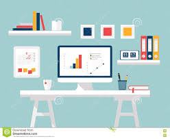 home office modern home. Home Office. Flat Design Vector Illustration Of Modern Home Office Interior  With Designer Desktop And Computer E