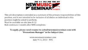 Music Manager Job Description The New Music Seminar Is Hiring The Music Business Network