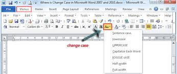 change case in microsoft word 2007
