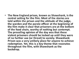 sample essay the shawshank redemption topic analyse how the  the new england prison known as shawshank is the central setting for the film