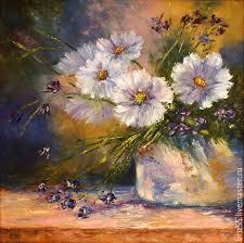 flower paintings handmade livemaster handmade oil painting wild flowers