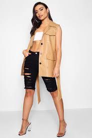 boohoo harper sleeveless faux leather safari jacket favorite welcome please select dzz31574