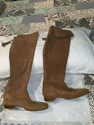 details about zara basic collection over the knee fold over brown suede leather boots size 40