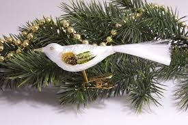 Neu 1 Vogel Eisweiss Mit Gold Grün Christbaumschmuck Aus Lauscha