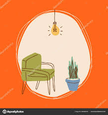 60s Graphic Design Style Colorful Isolated 60s Retro Style Furniture Simple