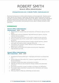 Office Administration Resume Examples Branch Office Administrator Resume Samples Qwikresume